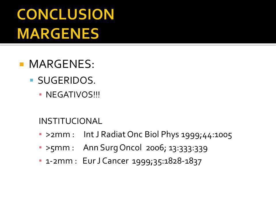 MARGENES: SUGERIDOS. NEGATIVOS!!! INSTITUCIONAL >2mm : Int J Radiat Onc Biol Phys 1999;44:1005 >5mm : Ann Surg Oncol 2006; 13:333:339 1-2mm : Eur J Ca