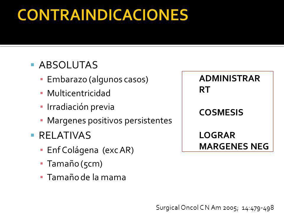 ABSOLUTAS Embarazo (algunos casos) Multicentricidad Irradiación previa Margenes positivos persistentes RELATIVAS Enf Colágena (exc AR) Tamaño (5cm) Ta