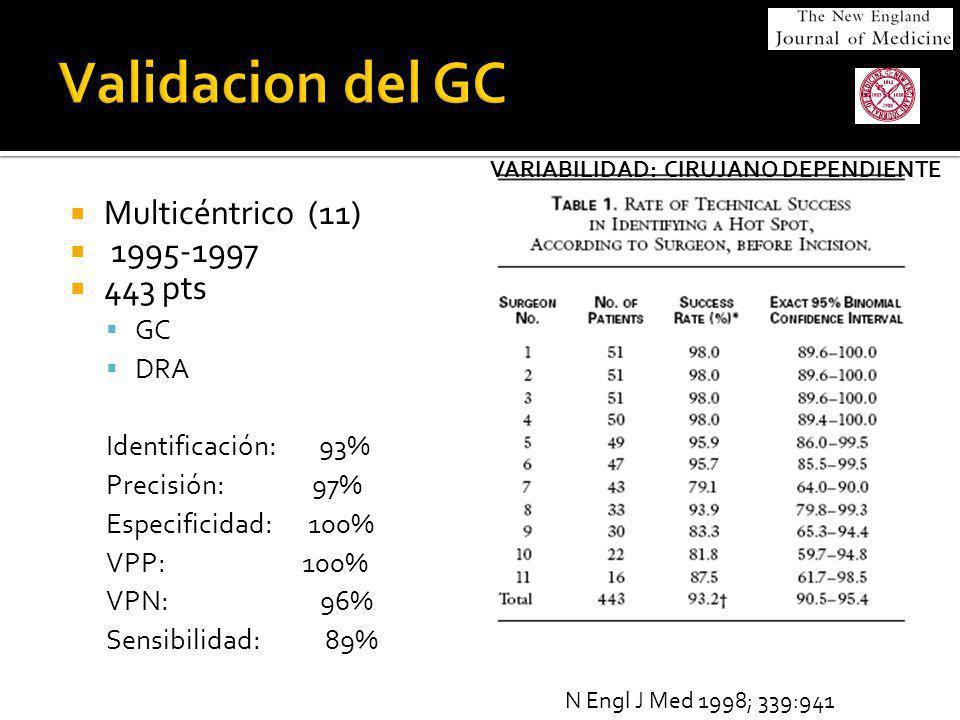 Multicéntrico (11) 1995-1997 443 pts GC DRA Identificación: 93% Precisión: 97% Especificidad: 100% VPP: 100% VPN: 96% Sensibilidad: 89% N Engl J Med 1