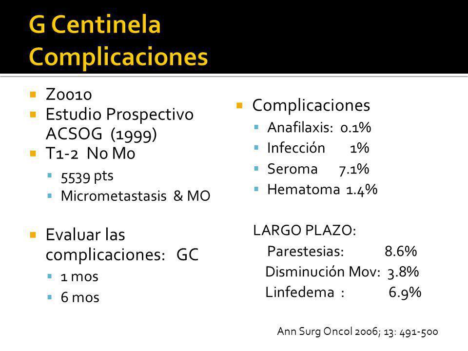 Z0010 Estudio Prospectivo ACSOG (1999) T1-2 N0 M0 5539 pts Micrometastasis & MO Evaluar las complicaciones: GC 1 mos 6 mos Complicaciones Anafilaxis: