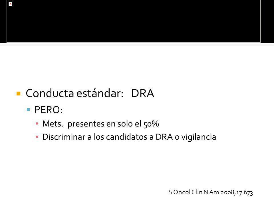 Conducta estándar: DRA PERO: Mets. presentes en solo el 50% Discriminar a los candidatos a DRA o vigilancia S Oncol Clin N Am 2008;17:673