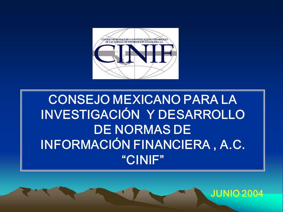 CONSEJO MEXICANO PARA LA INVESTIGACIÓN Y DESARROLLO DE NORMAS DE INFORMACIÓN FINANCIERA, A.C.
