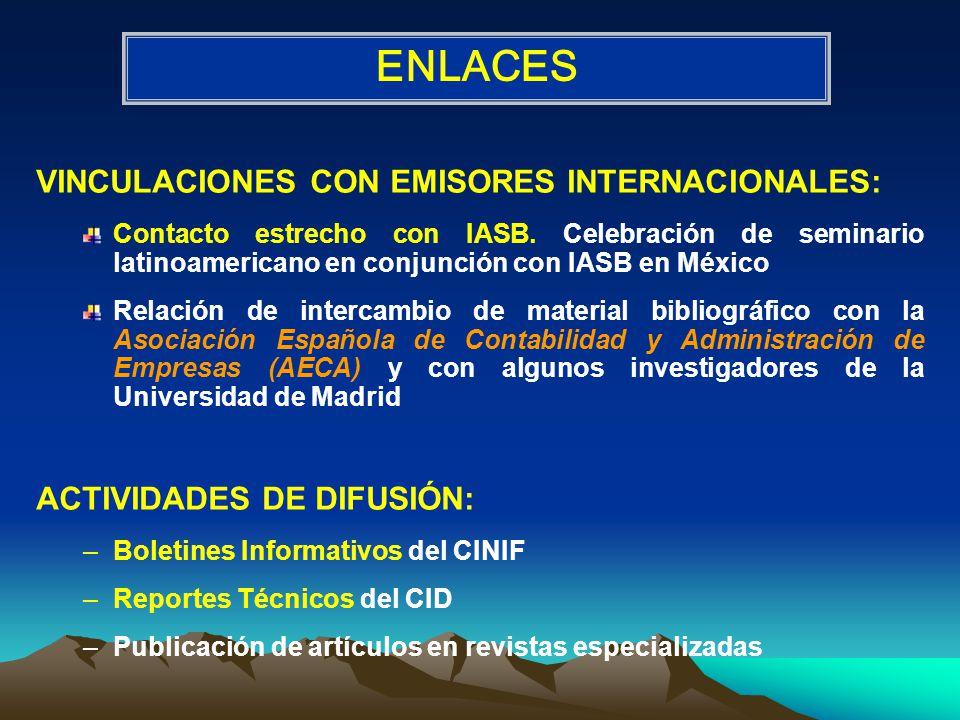 VINCULACIONES CON EMISORES INTERNACIONALES: Contacto estrecho con IASB.