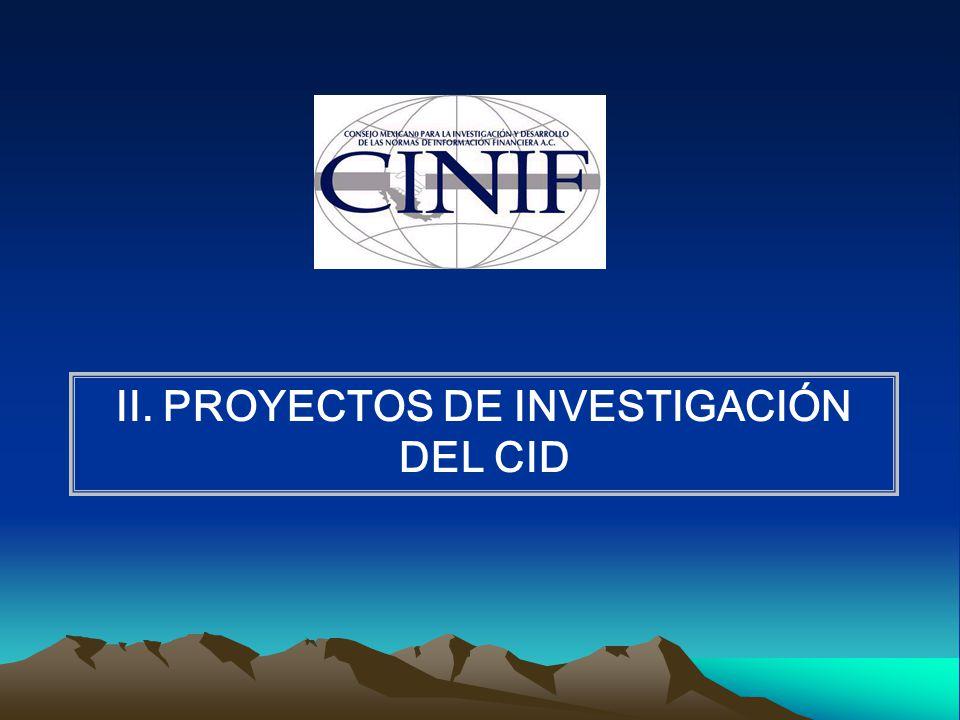 II. PROYECTOS DE INVESTIGACIÓN DEL CID