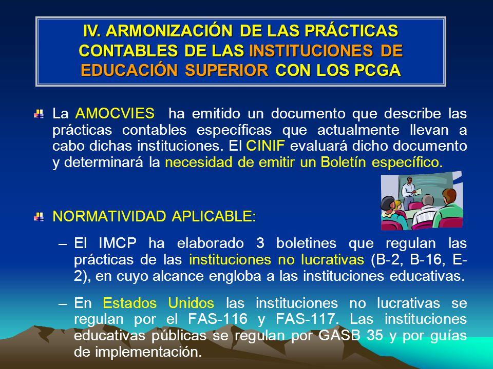 La AMOCVIES ha emitido un documento que describe las prácticas contables específicas que actualmente llevan a cabo dichas instituciones.