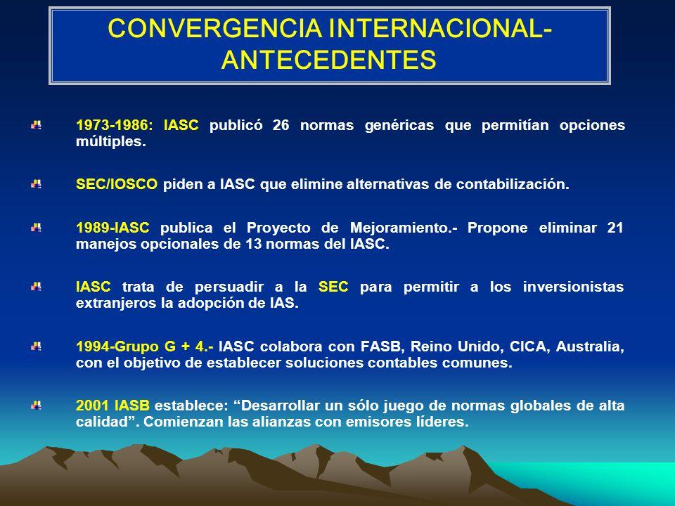 1973-1986: IASC publicó 26 normas genéricas que permitían opciones múltiples.