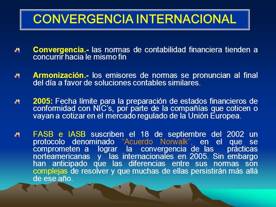 Convergencia.- las normas de contabilidad financiera tienden a concurrir hacia le mismo fin Armonización.- los emisores de normas se pronuncian al final del día a favor de soluciones contables similares.