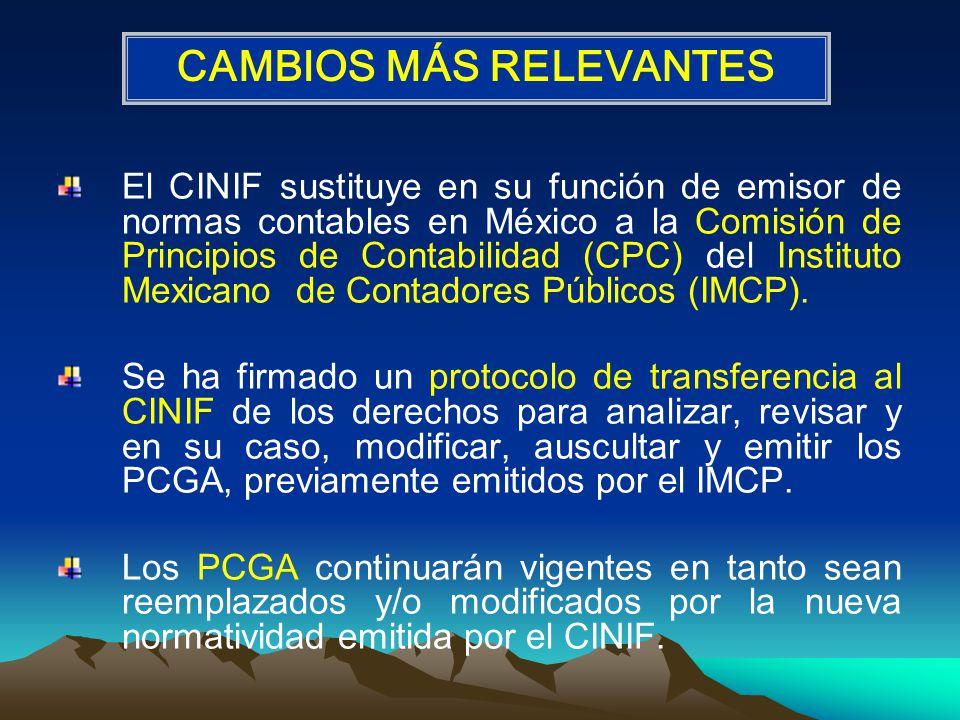 El CINIF sustituye en su función de emisor de normas contables en México a la Comisión de Principios de Contabilidad (CPC) del Instituto Mexicano de Contadores Públicos (IMCP).