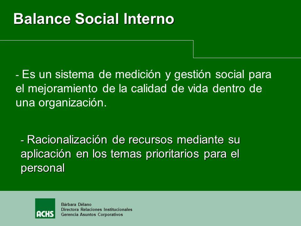 Bárbara Délano Directora Relaciones Institucionales Gerencia Asuntos Corporativos Balance Social Interno - Racionalización de recursos mediante su apl