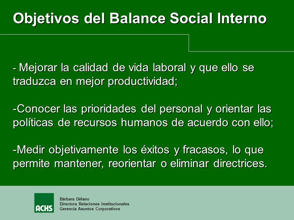 Bárbara Délano Directora Relaciones Institucionales Gerencia Asuntos Corporativos Objetivos del Balance Social Interno - Mejorar la calidad de vida la
