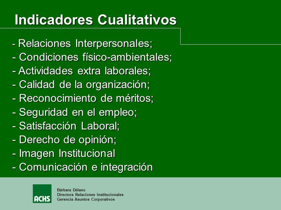 Bárbara Délano Directora Relaciones Institucionales Gerencia Asuntos Corporativos - Relaciones Interpersonales; - Condiciones físico-ambientales; - Ac
