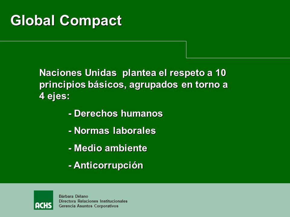 Bárbara Délano Directora Relaciones Institucionales Gerencia Asuntos Corporativos Global Compact Naciones Unidas plantea el respeto a 10 principios bá