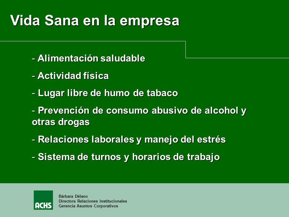 Bárbara Délano Directora Relaciones Institucionales Gerencia Asuntos Corporativos Vida Sana en la empresa - Alimentación saludable - Actividad física