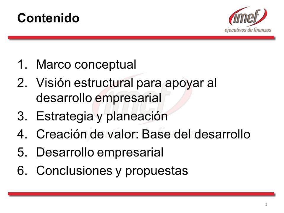 2 Contenido 1.Marco conceptual 2.Visión estructural para apoyar al desarrollo empresarial 3.Estrategia y planeación 4.Creación de valor: Base del desarrollo 5.Desarrollo empresarial 6.Conclusiones y propuestas