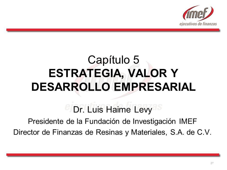 27 Capítulo 5 ESTRATEGIA, VALOR Y DESARROLLO EMPRESARIAL Dr.
