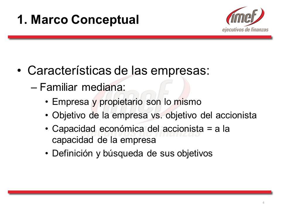 4 1. Marco Conceptual Características de las empresas: –Familiar mediana: Empresa y propietario son lo mismo Objetivo de la empresa vs. objetivo del a