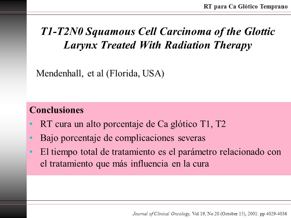 T1-T2N0 Squamous Cell Carcinoma of the Glottic Larynx Treated With Radiation Therapy Conclusiones RT cura un alto porcentaje de Ca glótico T1, T2 Bajo porcentaje de complicaciones severas El tiempo total de tratamiento es el parámetro relacionado con el tratamiento que más influencia en la cura Mendenhall, et al (Florida, USA) Journal of Clinical Oncology, Vol 19, No 20 (October 15), 2001: pp 4029-4036 RT para Ca Glótico Temprano