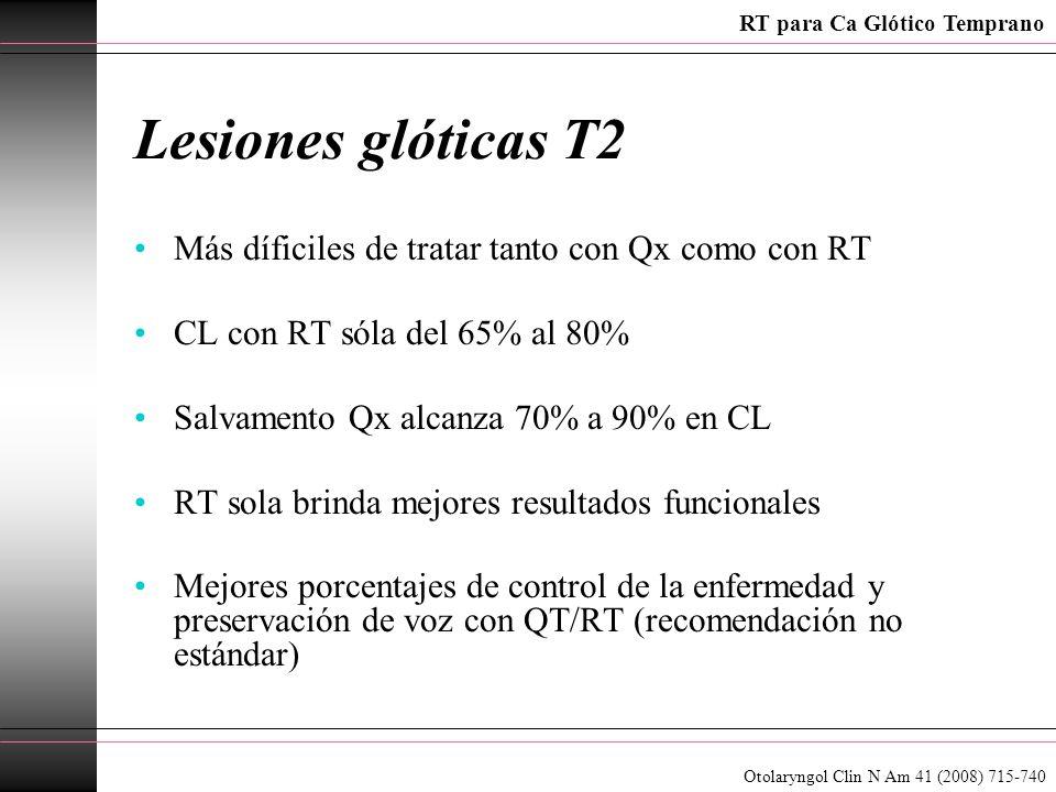 Lesiones glóticas T2 Más díficiles de tratar tanto con Qx como con RT CL con RT sóla del 65% al 80% Salvamento Qx alcanza 70% a 90% en CL RT sola brin
