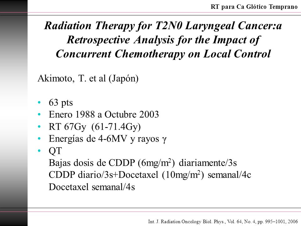 Radiation Therapy for T2N0 Laryngeal Cancer:a Retrospective Analysis for the Impact of Concurrent Chemotherapy on Local Control Akimoto, T. et al (Jap