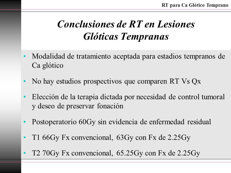 Conclusiones de RT en Lesiones Glóticas Tempranas Modalidad de tratamiento aceptada para estadios tempranos de Ca glótico No hay estudios prospectivos