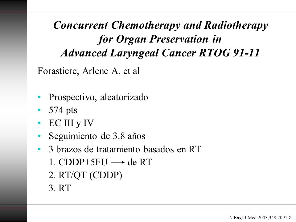 Concurrent Chemotherapy and Radiotherapy for Organ Preservation in Advanced Laryngeal Cancer RTOG 91-11 Forastiere, Arlene A. et al Prospectivo, aleat
