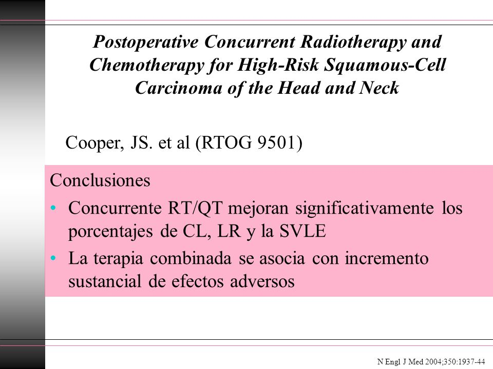 Postoperative Concurrent Radiotherapy and Chemotherapy for High-Risk Squamous-Cell Carcinoma of the Head and Neck Conclusiones Concurrente RT/QT mejor
