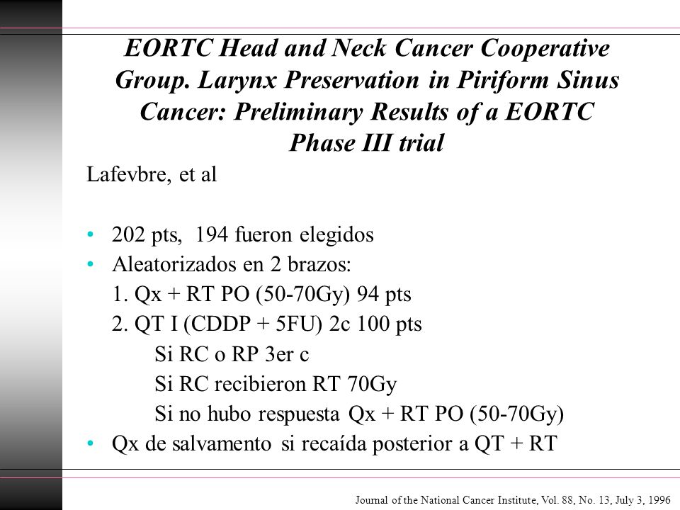 EORTC Head and Neck Cancer Cooperative Group. Larynx Preservation in Piriform Sinus Cancer: Preliminary Results of a EORTC Phase III trial Lafevbre, e