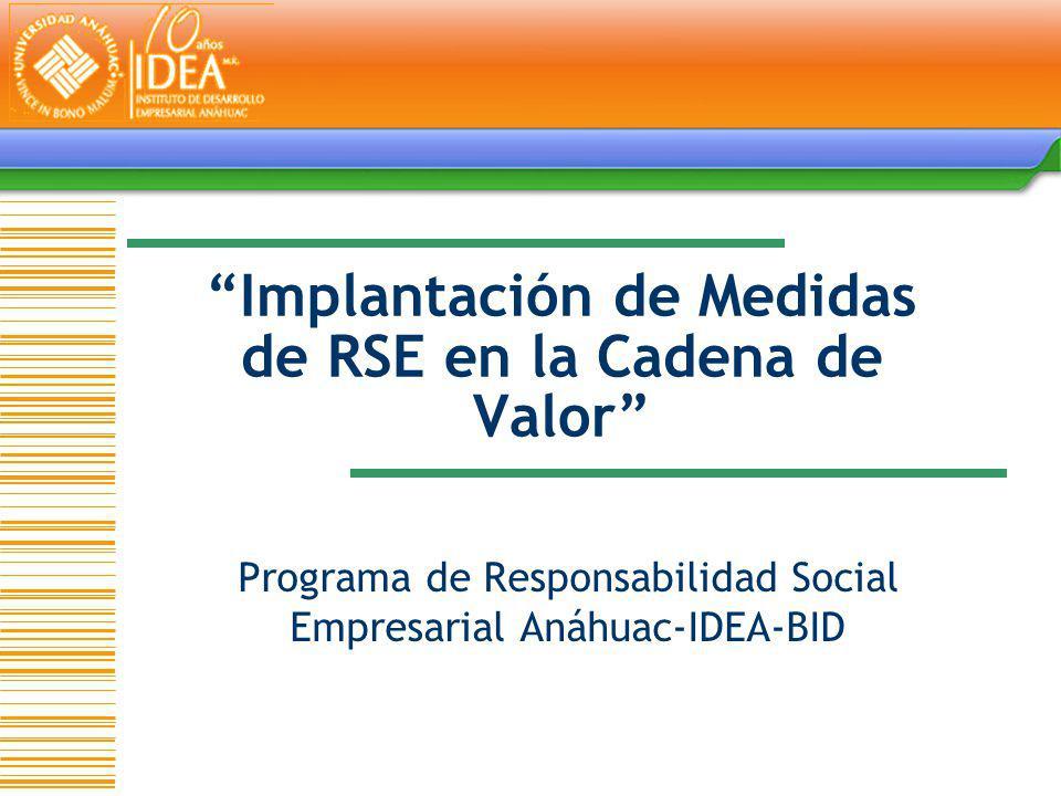 Implantación de Medidas de RSE en la Cadena de Valor Programa de Responsabilidad Social Empresarial Anáhuac-IDEA-BID