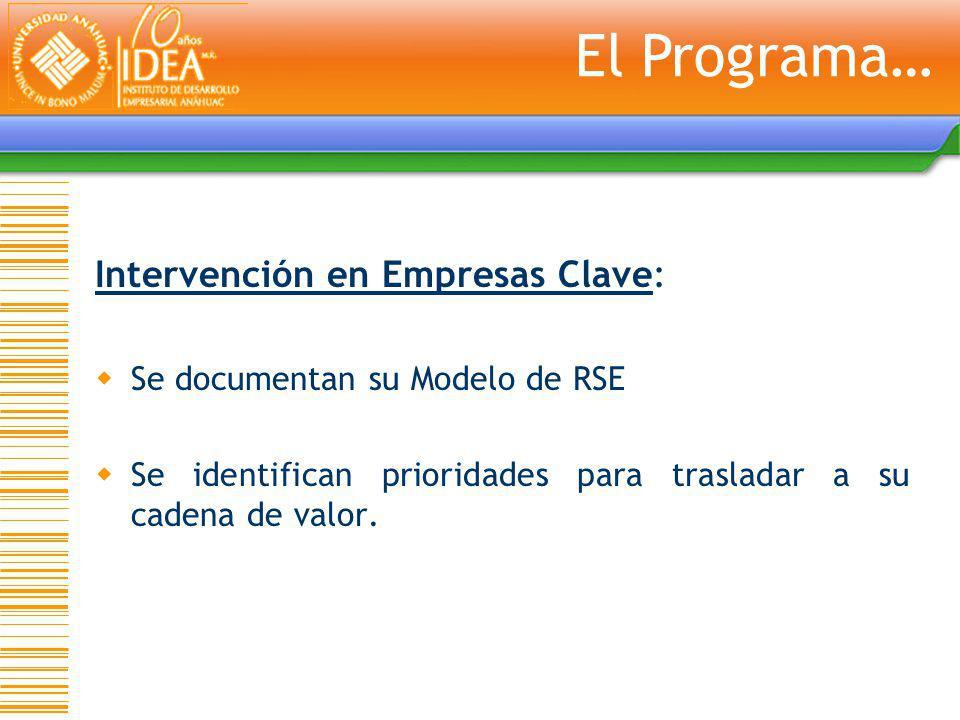 Intervención en Empresas Clave: Se documentan su Modelo de RSE Se identifican prioridades para trasladar a su cadena de valor. El Programa…