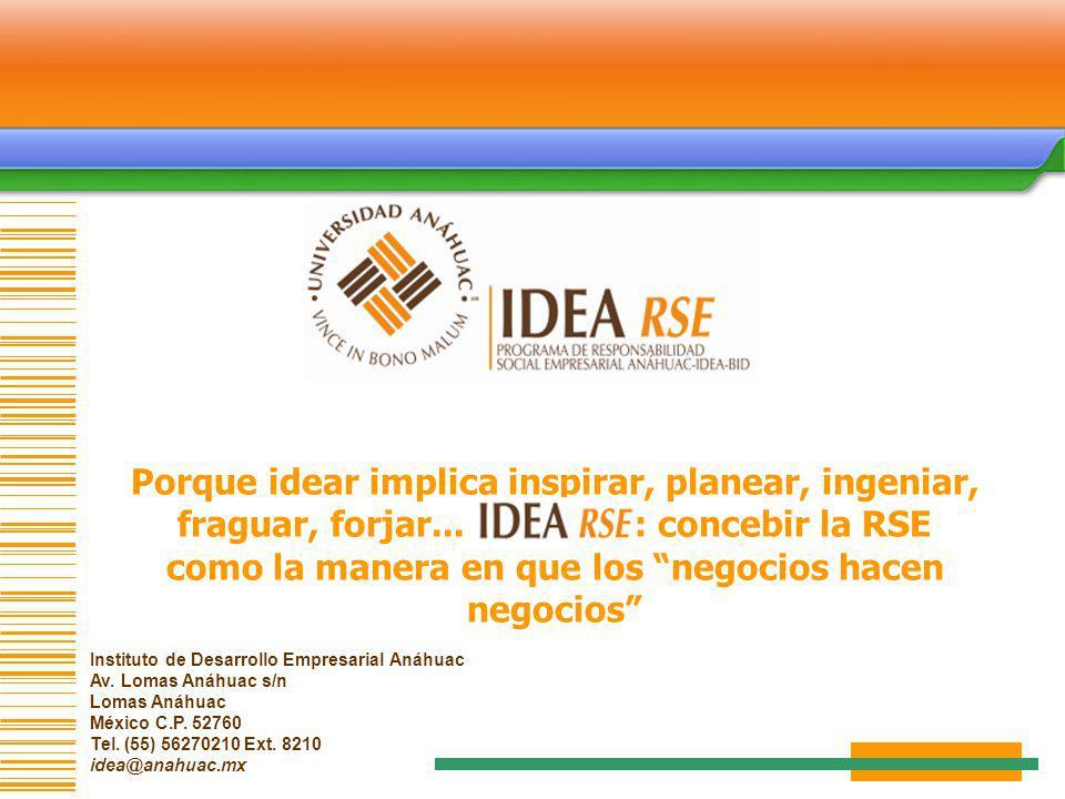 Instituto de Desarrollo Empresarial Anáhuac Av. Lomas Anáhuac s/n Lomas Anáhuac México C.P. 52760 Tel. (55) 56270210 Ext. 8210 idea@anahuac.mx Porque