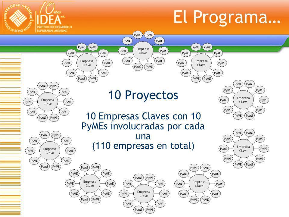 10 Proyectos 10 Empresas Claves con 10 PyMEs involucradas por cada una (110 empresas en total) El Programa…
