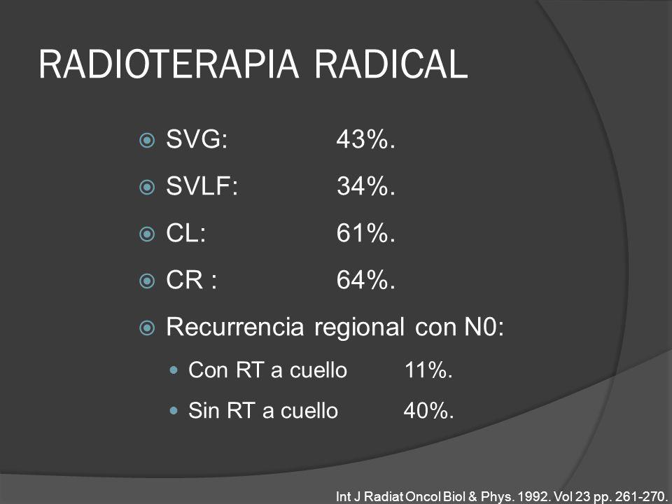 RADIOTERAPIA RADICAL SVG: 43%. SVLF: 34%. CL: 61%. CR : 64%. Recurrencia regional con N0: Con RT a cuello 11%. Sin RT a cuello 40%. Int J Radiat Oncol
