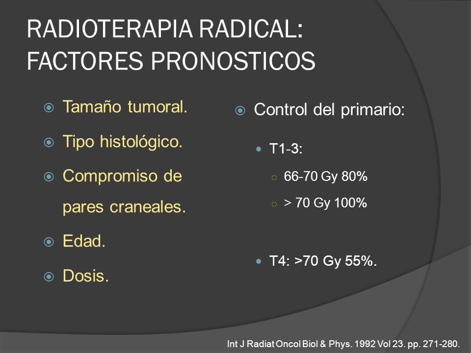 RADIOTERAPIA RADICAL: FACTORES PRONOSTICOS Tamaño tumoral. Tipo histológico. Compromiso de pares craneales. Edad. Dosis. Control del primario: T1-3: 6