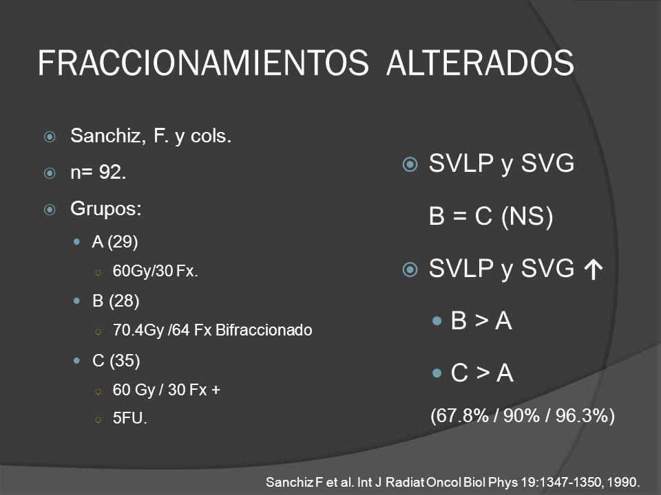 FRACCIONAMIENTOS ALTERADOS Sanchiz, F. y cols. n= 92. Grupos: A (29) 60Gy/30 Fx. B (28) 70.4Gy /64 Fx Bifraccionado C (35) 60 Gy / 30 Fx + 5FU. SVLP y