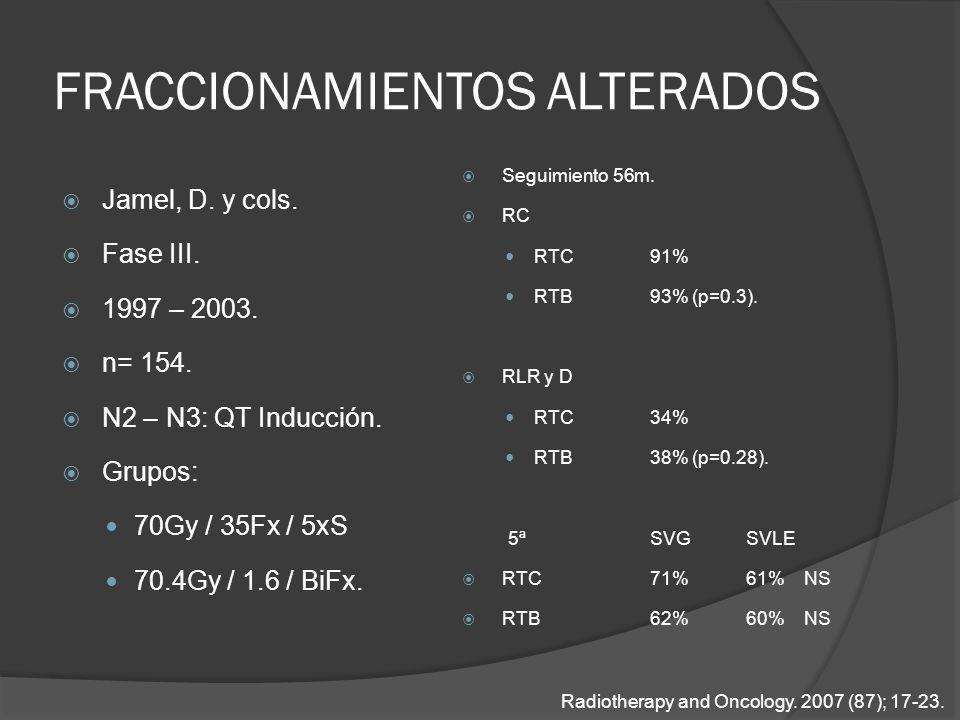 FRACCIONAMIENTOS ALTERADOS Jamel, D. y cols. Fase III. 1997 – 2003. n= 154. N2 – N3: QT Inducción. Grupos: 70Gy / 35Fx / 5xS 70.4Gy / 1.6 / BiFx. Segu