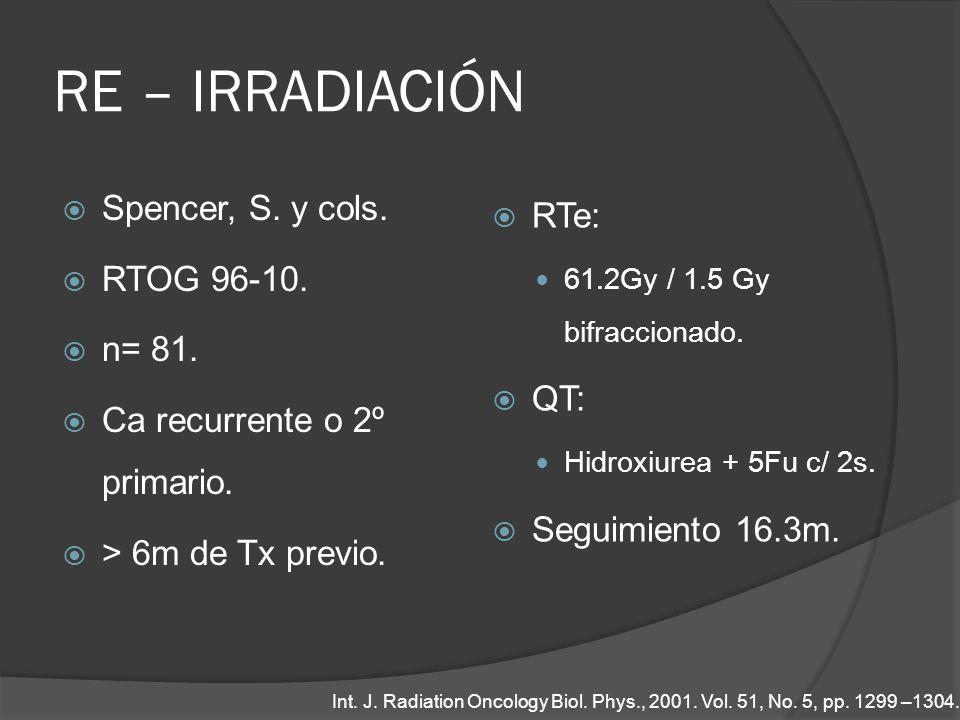 RE – IRRADIACIÓN Spencer, S. y cols. RTOG 96-10. n= 81. Ca recurrente o 2º primario. > 6m de Tx previo. RTe: 61.2Gy / 1.5 Gy bifraccionado. QT: Hidrox