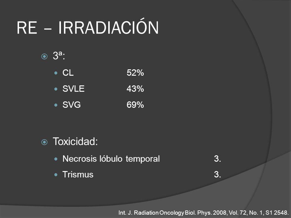 RE – IRRADIACIÓN 3ª: CL52% SVLE43% SVG69% Toxicidad: Necrosis lóbulo temporal3. Trismus3. Int. J. Radiation Oncology Biol. Phys. 2008, Vol. 72, No. 1,