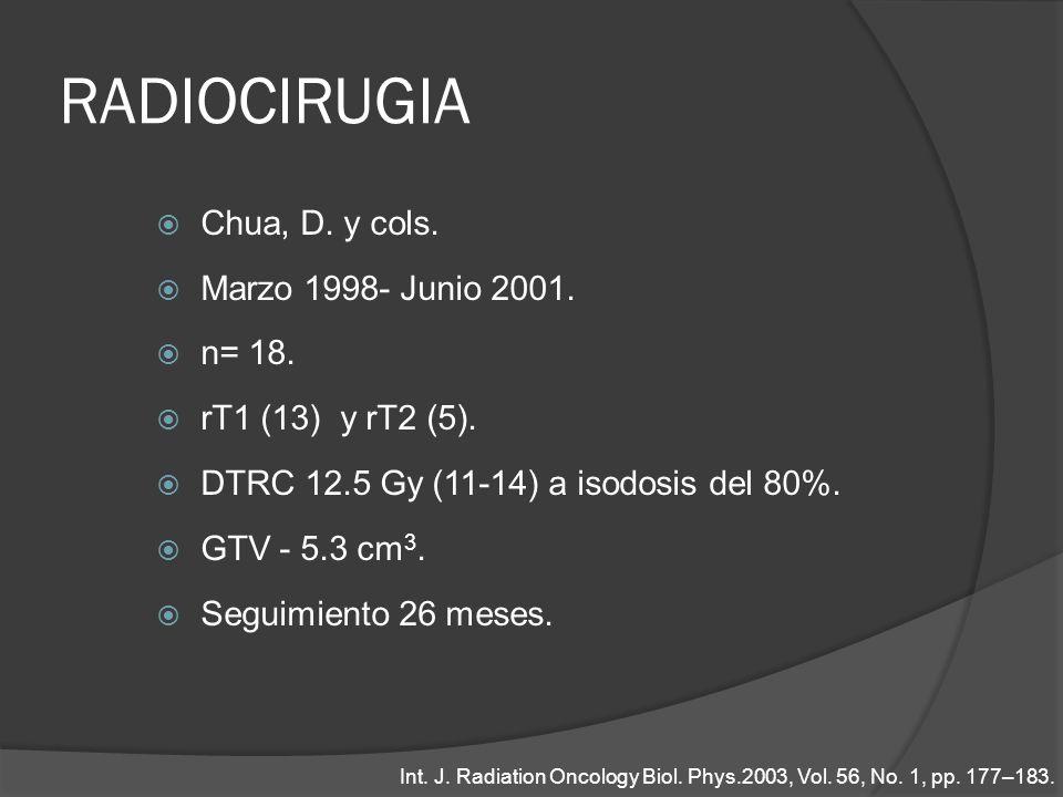 RADIOCIRUGIA Chua, D. y cols. Marzo 1998- Junio 2001. n= 18. rT1 (13) y rT2 (5). DTRC 12.5 Gy (11-14) a isodosis del 80%. GTV - 5.3 cm 3. Seguimiento