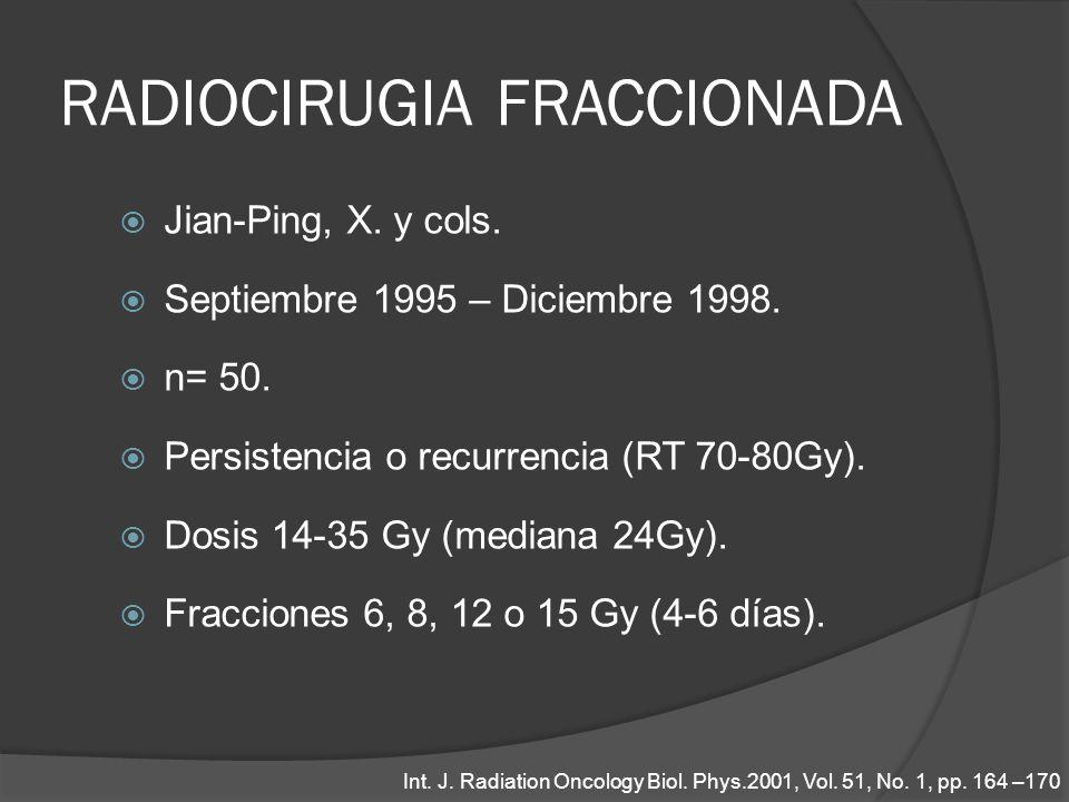 RADIOCIRUGIA FRACCIONADA Jian-Ping, X. y cols. Septiembre 1995 – Diciembre 1998. n= 50. Persistencia o recurrencia (RT 70-80Gy). Dosis 14-35 Gy (media