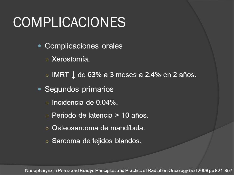 COMPLICACIONES Complicaciones orales Xerostomía. IMRT de 63% a 3 meses a 2.4% en 2 años. Segundos primarios Incidencia de 0.04%. Periodo de latencia >