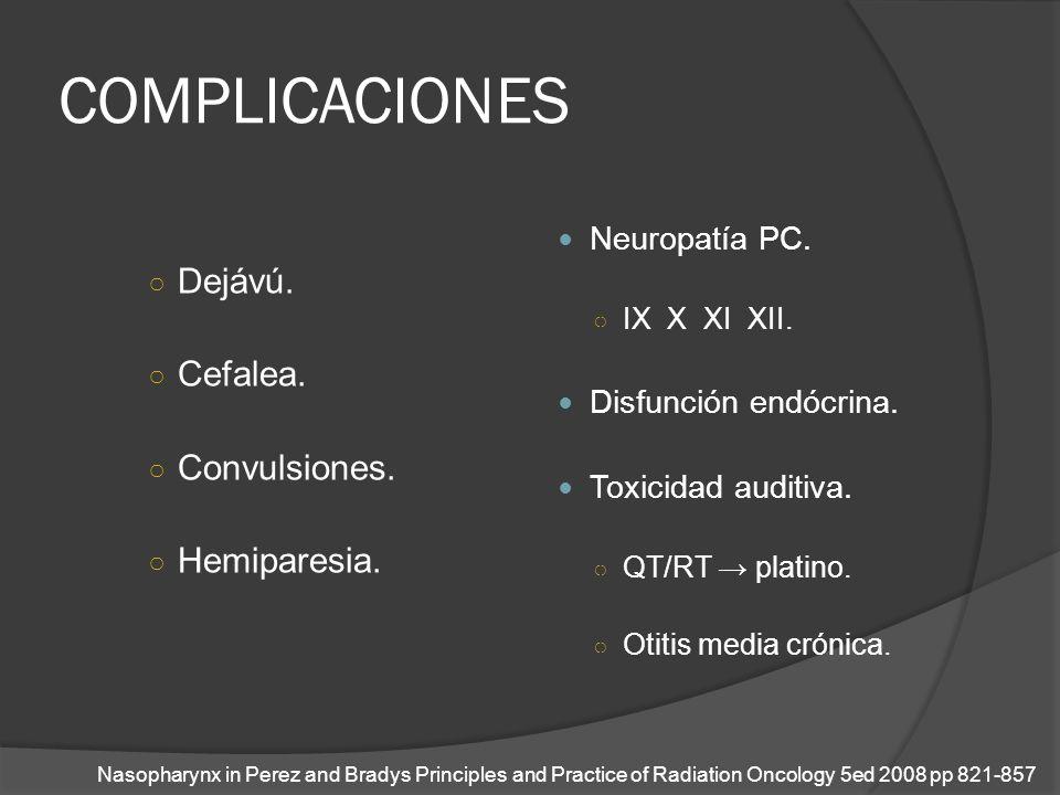 COMPLICACIONES Dejávú. Cefalea. Convulsiones. Hemiparesia. Neuropatía PC. IX X XI XII. Disfunción endócrina. Toxicidad auditiva. QT/RT platino. Otitis