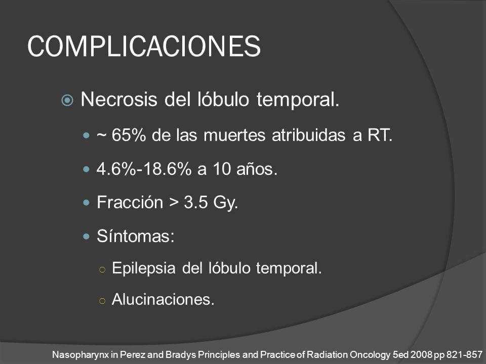 COMPLICACIONES Necrosis del lóbulo temporal. ~ 65% de las muertes atribuidas a RT. 4.6%-18.6% a 10 años. Fracción > 3.5 Gy. Síntomas: Epilepsia del ló