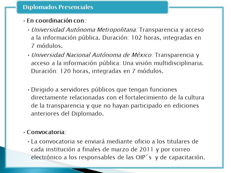 En coordinación con: Universidad Autónoma Metropolitana: Transparencia y acceso a la información pública. Duración: 102 horas, integradas en 7 módulos