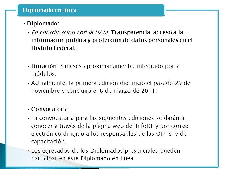 Diplomado: En coordinación con la UAM: Transparencia, acceso a la información pública y protección de datos personales en el Distrito Federal. Duració