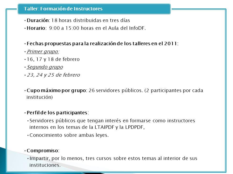 Duración: 18 horas distribuidas en tres días Horario: 9:00 a 15:00 horas en el Aula del InfoDF. Fechas propuestas para la realización de los talleres