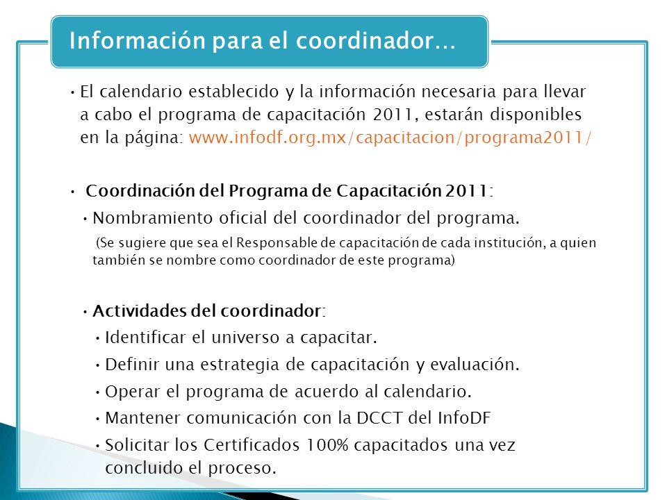 El calendario establecido y la información necesaria para llevar a cabo el programa de capacitación 2011, estarán disponibles en la página: www.infodf.org.mx/capacitacion/programa2011/ Coordinación del Programa de Capacitación 2011: Nombramiento oficial del coordinador del programa.