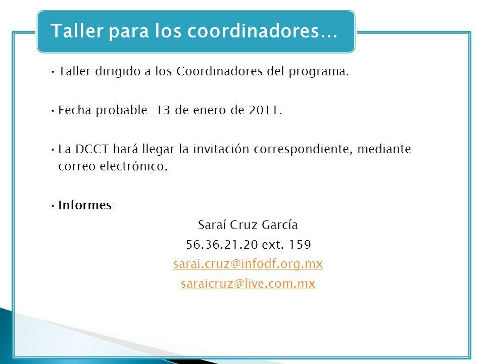 Taller dirigido a los Coordinadores del programa. Fecha probable: 13 de enero de 2011. La DCCT hará llegar la invitación correspondiente, mediante cor