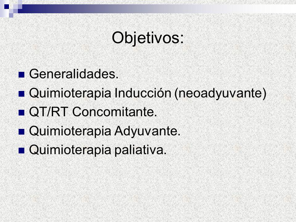 Objetivos: Generalidades. Quimioterapia Inducción (neoadyuvante) QT/RT Concomitante. Quimioterapia Adyuvante. Quimioterapia paliativa.