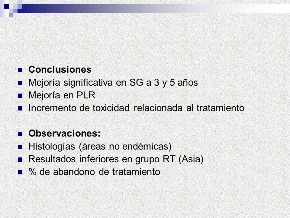 Conclusiones Mejoría significativa en SG a 3 y 5 años Mejoría en PLR Incremento de toxicidad relacionada al tratamiento Observaciones: Histologías (ár
