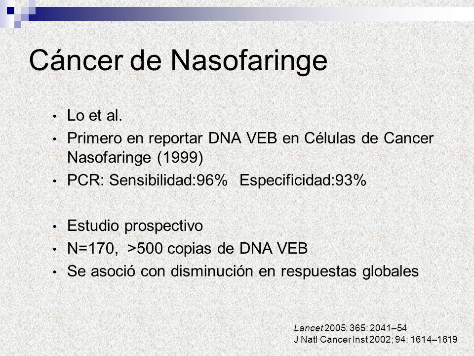 Cáncer de Nasofaringe Lo et al. Primero en reportar DNA VEB en Células de Cancer Nasofaringe (1999) PCR: Sensibilidad:96% Especificidad:93% Estudio pr